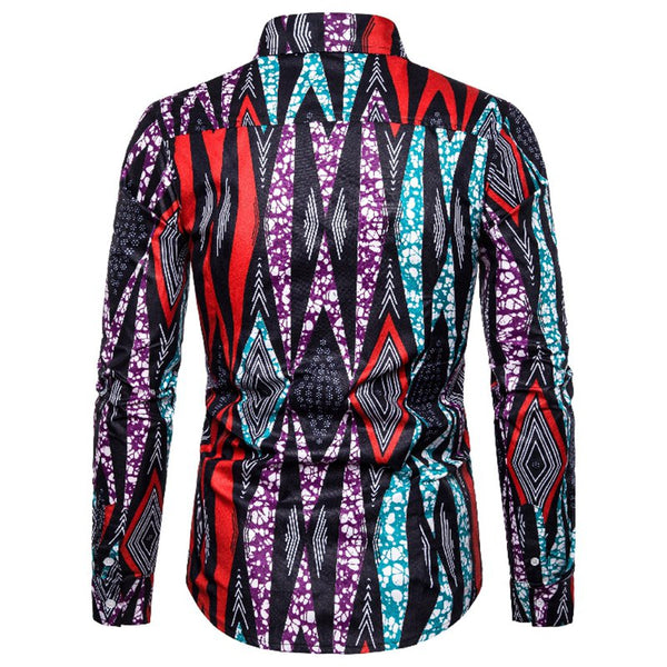 African Ethnic Style Fashion Men's Long Sleeve Shirts