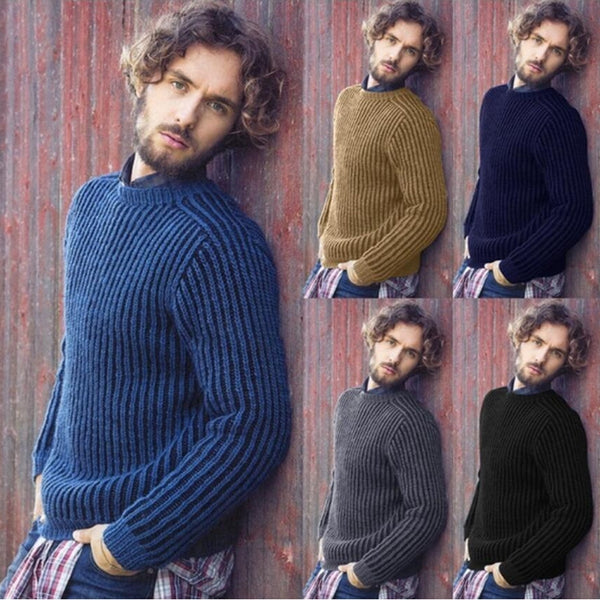 Men's Small Stand Collar Solid Color Sweaters