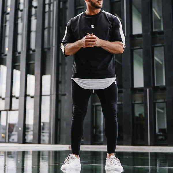 Men's Sports Leisure Trousers T-shirts Fitness Running Two-piece