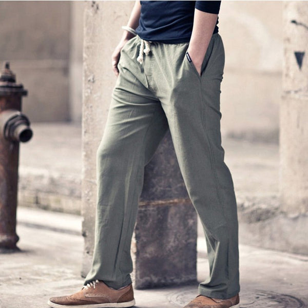 Men's Solid Color Elastic Waist Drawstring Flax Leisure Pants