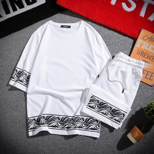 Chinese Style Men's Printed Cotton Loose T-shirt Pants Casual Sets