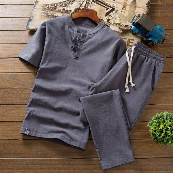 Chinese Style Men's Cotton Linen Sets Large Size Short-sleeved T-shirt Shorts