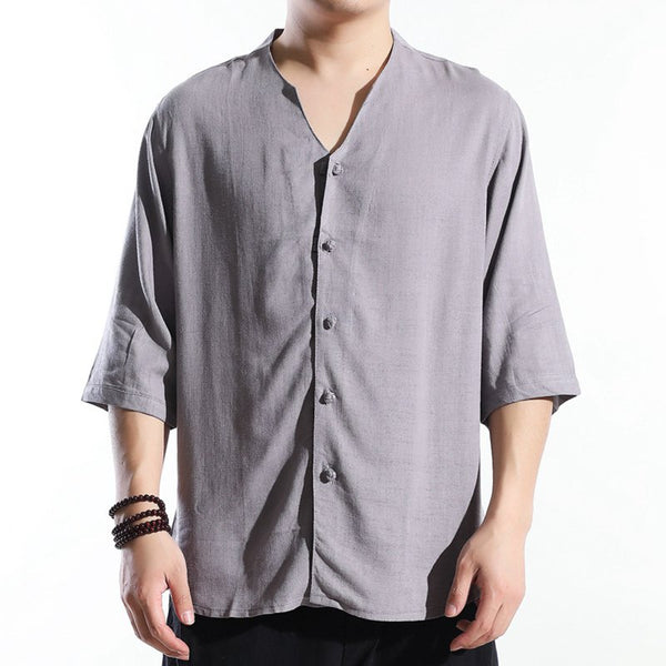 Men's Comfort Linen Cotton Buckle Casual Cardigan T-shirts