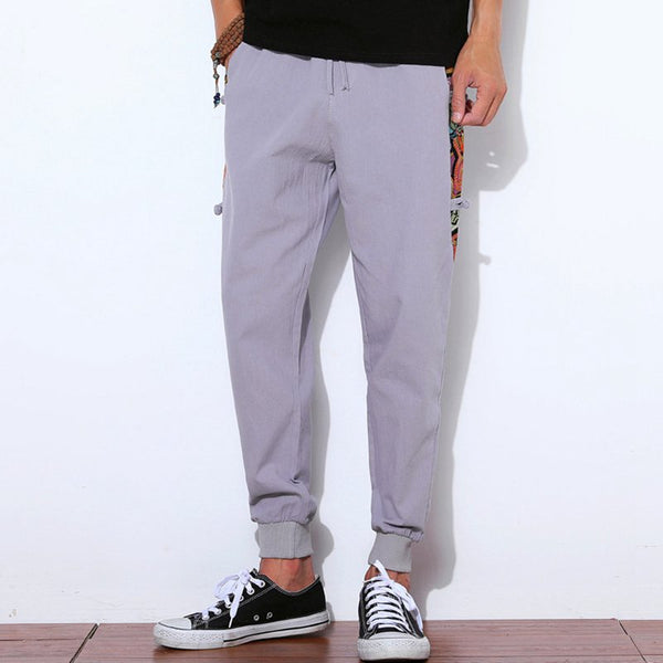 Men's Cotton Linen Casual Pants Loose Harlan Beam Pants