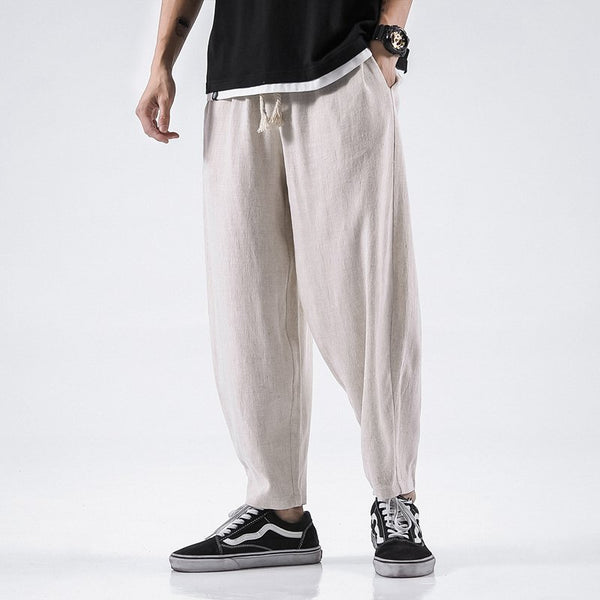 Men's Cotton Linen Casual Carrot Pants Chinese Style Loose Harem Pants