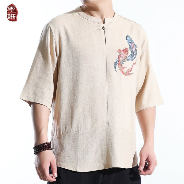 Men's Koi Embroidered Casual Cotton Short Sleeve T-shirts