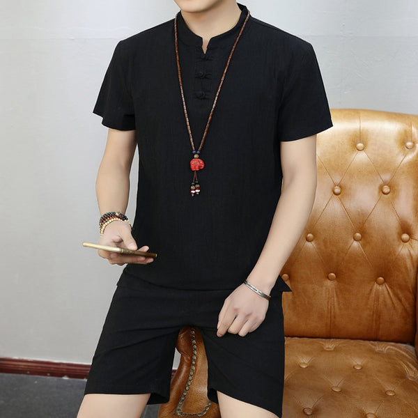 Men's Cotton Linen Casual Set Chinese Style Solid Short-sleeved T-shirt + Comfortable Shorts