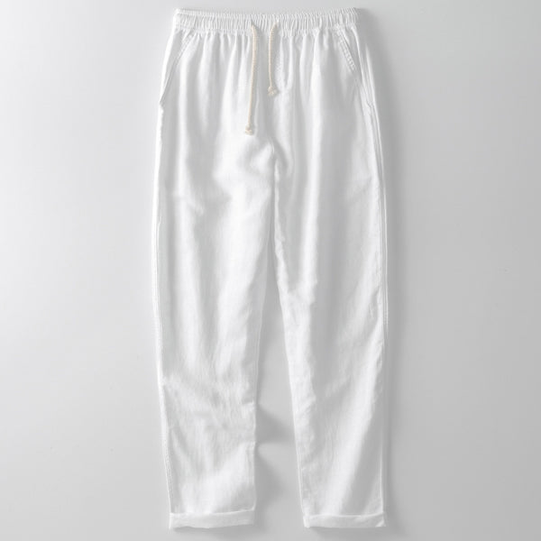 Men's Loose Elastic Waist Pants Linen Cotton Casual Trousers
