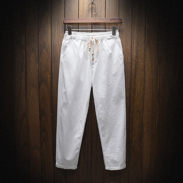 Men's Cotton Linen Casual Cropped Trousers Solid Beach Nine Pants