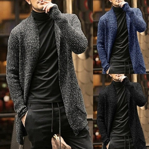 Men's Solid Color Long Sleeve Cardigan Trench Coat Sweaters