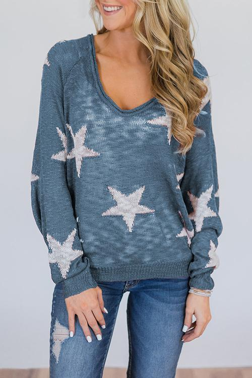 Starry Sky Long Sleeves Five-pointed Star Sweaters 7e769a52b