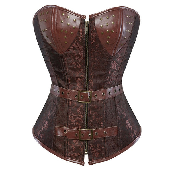 Gothic Steampunk Corset Brown Spiral Steel Boned Overbust Bustier Clubwear with Zipper and G-string S-6XL