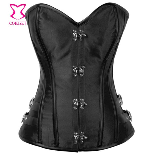 New Red Satin Gothic Corset Overbust Steampunk Clothing Korsett For Women Sexy Corsets And Bustiers Plus Size Burlesque Costumes