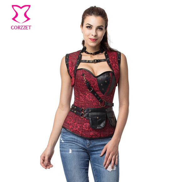 Red/Black Gothic Corset Overbust Steel Boned Corsets Plus Size Steampunk Clothing Sexy Espartilhos E Corpetes Korsett For Women