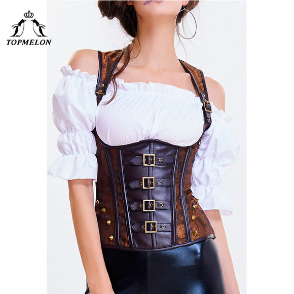 TOPMELON Underbust Bustier Gothic Corselet Steampunk Sexy Corset Women Steel Boned Rivet Buckles Floral Shows Party Corset Tops
