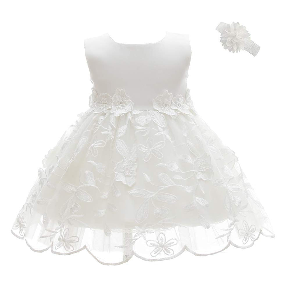 Booulfi Baptism Gifts for Baby Girls Satin Christening Baptism Floral Embroidered Dress Gown Outfit