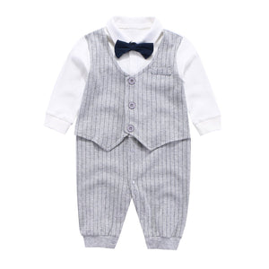 75be6eb17bff Mornyray Baby Boy Formal Jumpsuit Cotton One Piece Shirt with Bow Tie, Gray  Stripe,
