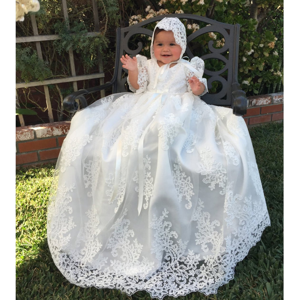 c75dddd9f Lovely Lace Girls Christening Gowns Dresses 7-9 Months – Christen My Day
