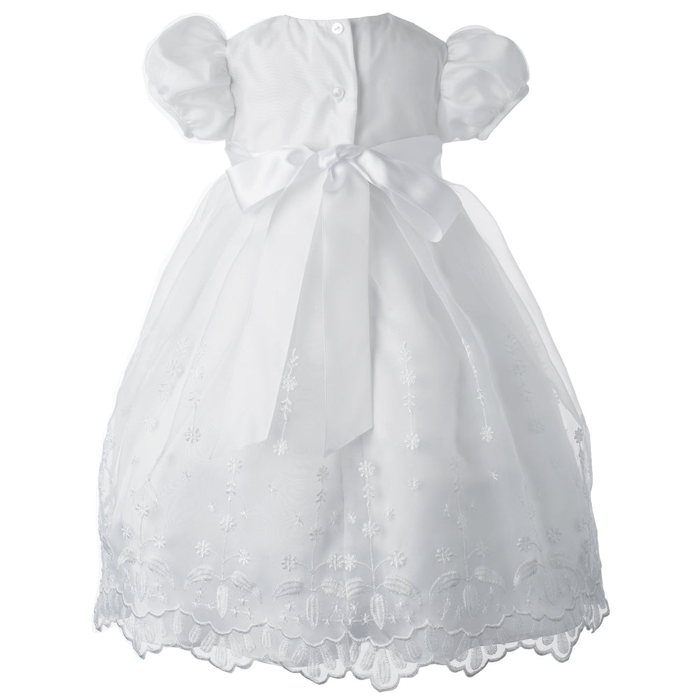 278cb901c Lauren Madison Baby-Girls Newborn Satin Floral Embroidered Dress Gown Outfit,  White, 0