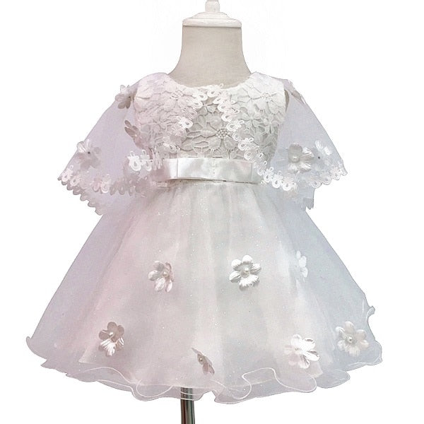 19da7fab0 Baby Girls Glittery Lace Cover-Up Christening & Wedding Flower Dress ...
