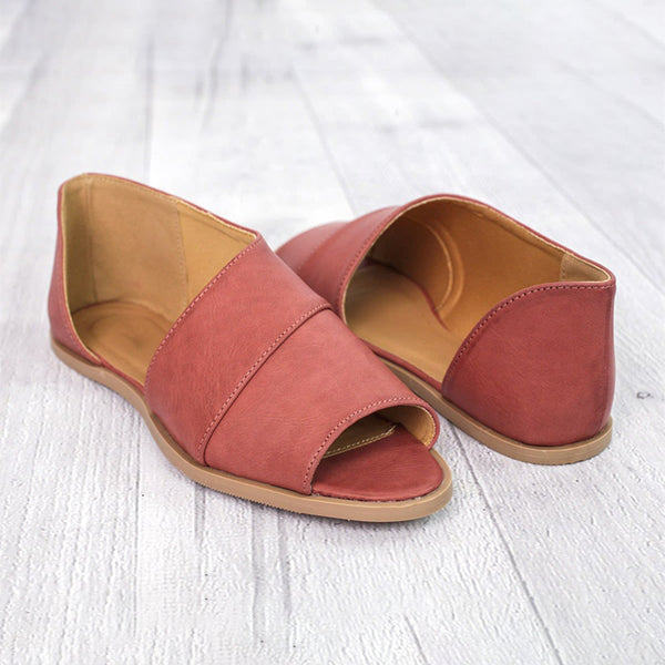 303c9a58a Feeldaily Loafers Taupe Peep Toe Casual Flat Heel Loafers – FeelDaily