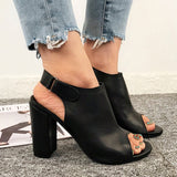 Women's Magic Tape Shoes High Heel Peep Toe Sandals