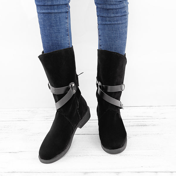 Plus Size Adjustable Buckle Mid Calf Women Motorcycle Boots