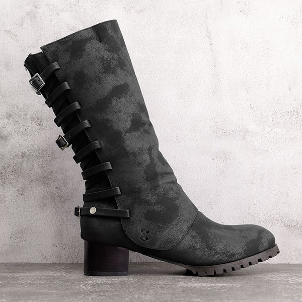 Women's Vintage Faux Leather Zipper Mid-Calf Boots