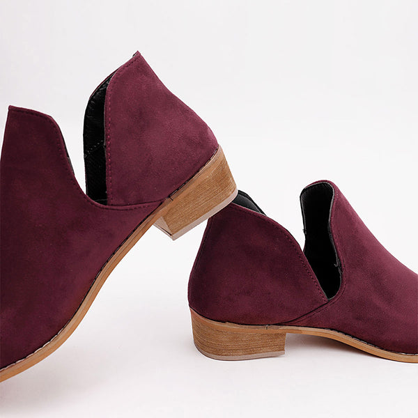 Women Suede Slip On Chunky Heel Casual  Booties