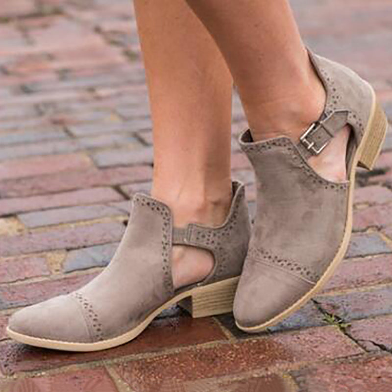 54b1002b4bb Women Ankle Strap Hollow Out Chunky Booties Casual Plus Size Shoes