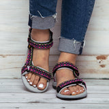 Summer Sandals Flat With Soft Bottom National Contrast Color Embroidery Sandals