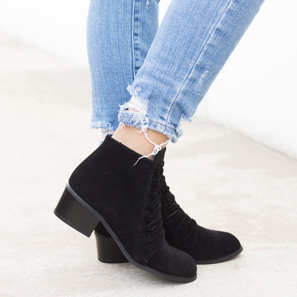 Fashion Ankle Booties Faux Suede Low Heel Zipper Boots