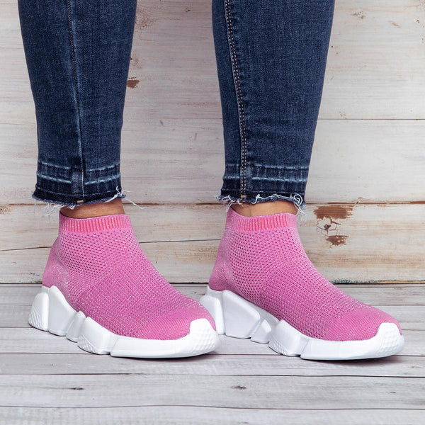 Women Knnited Fabric Breathable Sneakers Casual Comfy Shoes