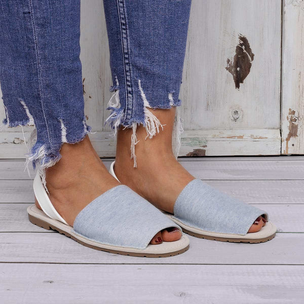 Summer Peep Toe Denim Sandals Slip On Beach Sandals