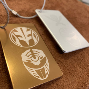 Power Ranger Luggage Tag - White Mighty Morphin, Silver Super Mega Force