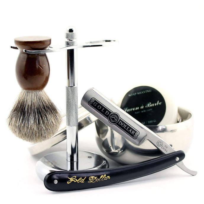 Luxury Men's 4pc Shaving Safety Razor Set w/ Ceramic Bowl, by Yinta