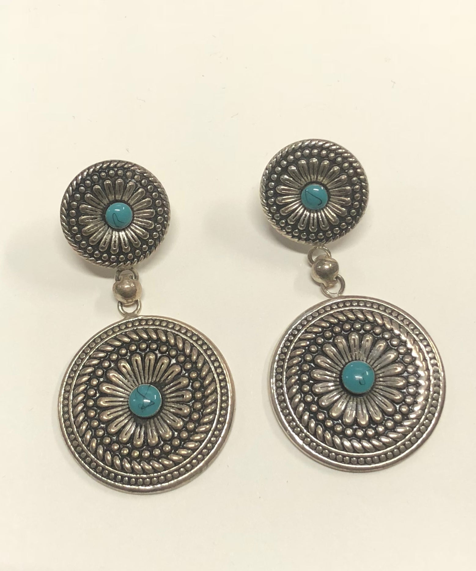 7dcb05366 Antique silver concho earrings with turquoise - ER1392TQ - Braidwood ...