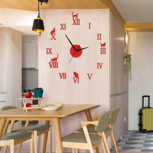 Cat Wall Sticker Clock
