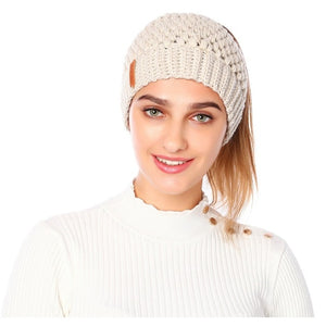 Ponytail Knitted Cap