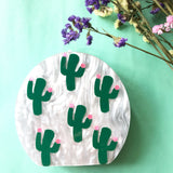 Round White Pearl Cactus Acrylic Clutch