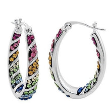 Load image into Gallery viewer, Rainbow Hoop Crystal Earrings