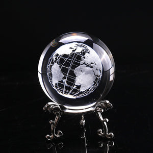 Laser Engraved Planet Earth Crystal Ball