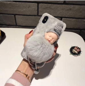 Pink Gray sleeping baby pompom cell phone case for iPhone7/8, iphone 7plus/8 plus.Back Cover Case For iPhone 7, 8, 7 Plus, 8 Plus.Rabbit fur case.