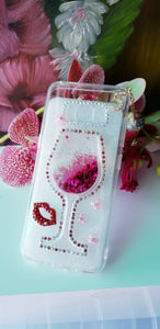 Luxury Red  Glass Flowing Liquid Bling Rhinestones Case For Samsung S8