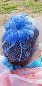 Royal Blue Wedding Church  Party Fascinator Hat.Feather Bridal Wedding Hair Clip Head Accessory. Bridal Derby Fascinator hat.Headpiece