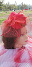 Red Wedding Church  Party Fascinator Hat.Feather Bridal Wedding Hair Clip Head Accessory. Bridal Derby Fascinator hat.Headpiece