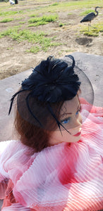 Black Wedding Church  Party Fascinator Hat.Feather Bridal Wedding Hair Clip Head Accessory. Bridal Derby Fascinator hat.Headpiece