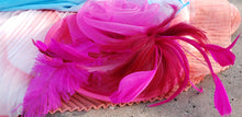 Hot Pink Wedding Church  Party Fascinator Hat.Feather Bridal Wedding Hair Clip Head Accessory. Bridal Derby Fascinator hat.Headpiece