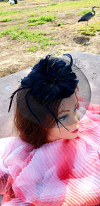 Navy Blue Wedding Church  Party Fascinator Hat.Feather Bridal Wedding Hair Clip Head Accessory. Bridal Derby Fascinator hat.Headpiece