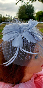 Grey Wedding Church  Party Fascinator Hat.Feather Bridal Wedding Hair Clip Head Accessory. Bridal Derby Fascinator hat.Headpiece
